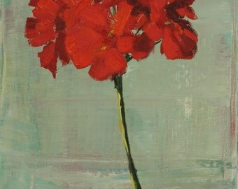 Red Flower Still Life Painting, floral art, Original Oil on Wood Panel, 8x10 inch Fine Art