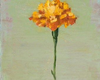 Floral Still Life Original Oil Painting Marigold Flower on wood panel 8x8 inch