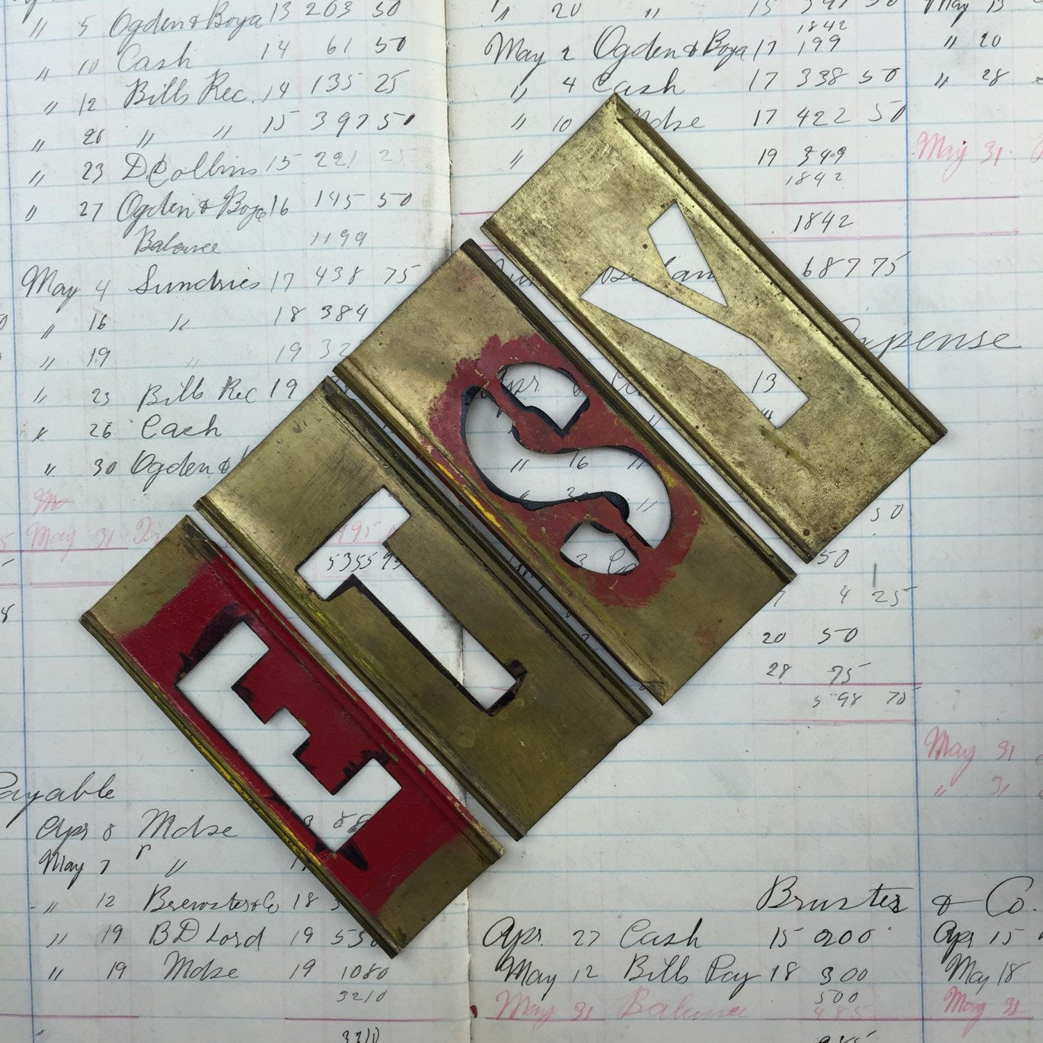 Antique brass stencil letters and numbers vintage brass for Antique letters