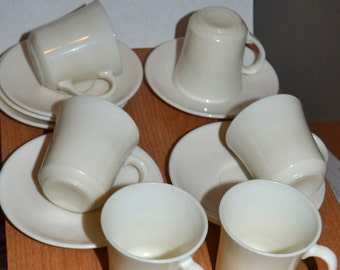 Set of 6 Arcopal Gastronomie Espresso cup and saucer set / Set of 6 Vintage French espresso Coffee Cups, Ivory milk glass cups