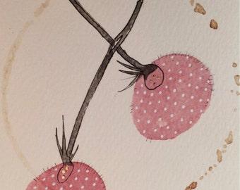 "Daily Illustration # 15/100 ""Dandelion Chain"" Original Hand Drawn Pink Dandelions"