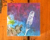 Feather// Wood Panel// Painting//Original art