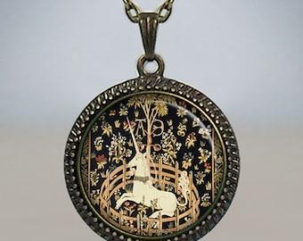 Unicorn in Captivity pendant, unicorn necklace, unicorn jewelry, unicorn jewellery, Renaissance jewelery, Unicorn Tapestries necklace