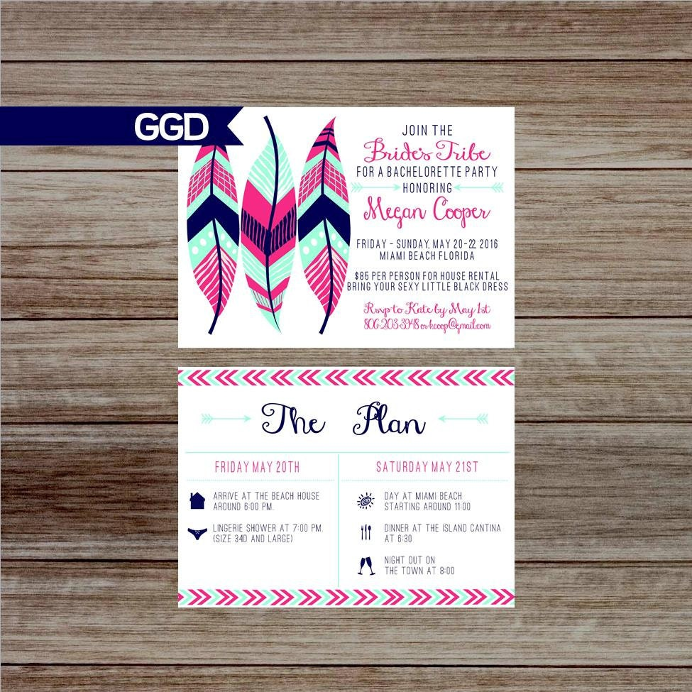 Boho Chic Tribal Bachelorette Party Invitation with Schedule
