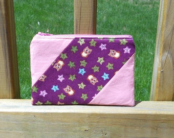 Zipper Pouch, Owls and Leaves, One of a Kind