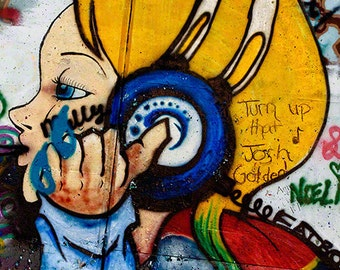 Street Art Photo Print, Colorful Graffiti Art, Girl with Audio Headphones, Archival Print, Edgy Art,  Wall Art, Urban Home Decor