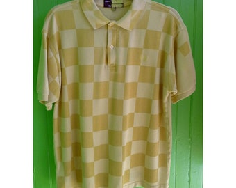 Comme des Garcons Fred Perry Archive Checkered Yellow Flag Polo Shirt Japan England