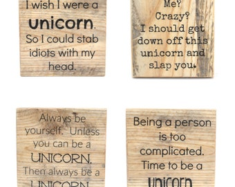 Unicorn Pallet wood coasters. Funny gift for mom coaster Gift Unique Wood coasters. Funny Coasters. Set of 4 Housewarming gift. Hostess gift