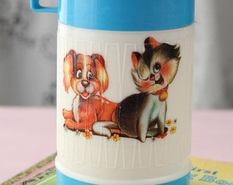 Vintage Kitschy Cartoon Dog and Cat Thermos