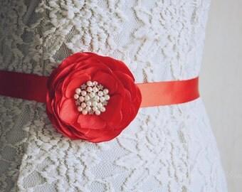 Red Silk Flower Belt, Wedding Sash, Flower Belt,  Dress gown. Bridesmaid Sash, Flower Girl Sash, Tie Back belt, Hair Accessory, Gown Belt