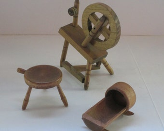 Dollhouse Wooden Miniatures, Spinning Wheel, Cradle and Milking Stool. Buckfield Maine.