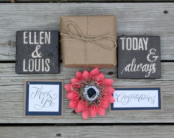 Navy and Coral Paper Flower Gift Topper & Wrapping Origami Rustic Wedding Bridesmaid gifts Rustic gift wrap wedding couple gift Mr and Mrs.