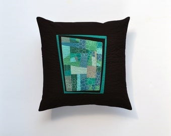 Aqua Modern Pillow, Quilted Pillow Cover, Teal Abstract Pillow, Modern Pillow, Teal and Black Pillow, 18 x 18, Throw Pillow