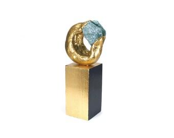 Abstract Art Sculpture - Effulgence / Gift, Gold, Home Decor, Desk Decor, Sculpture, Fuchsite, Semi Precious Stone