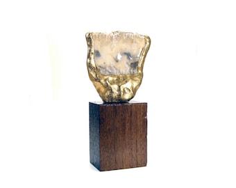 Abstract Art Sculpture -  Explicate / Fern Agate, Gift, Gold, Home Decor, Desk Decor, Sculpture, Semi Precious Stone
