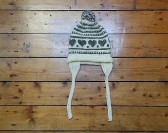 Womens beanie hat winter hats heart design girls pom pom vintage ski woolen cap teen warm head wear cream white Dolly Topsy Etsy UK