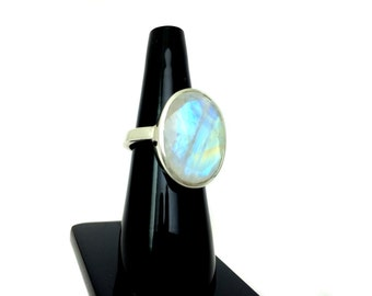 Rainbow Moonstone Sterling Silver Handmade  Ring Blue Flashy faceted natural Gemstone engagement Valentine wedding ring christmas giftforher