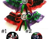 Harley Quinn and The Joker half n half Satin/Satin and Lace Garter/Garter Set-Your choice of embellishment.