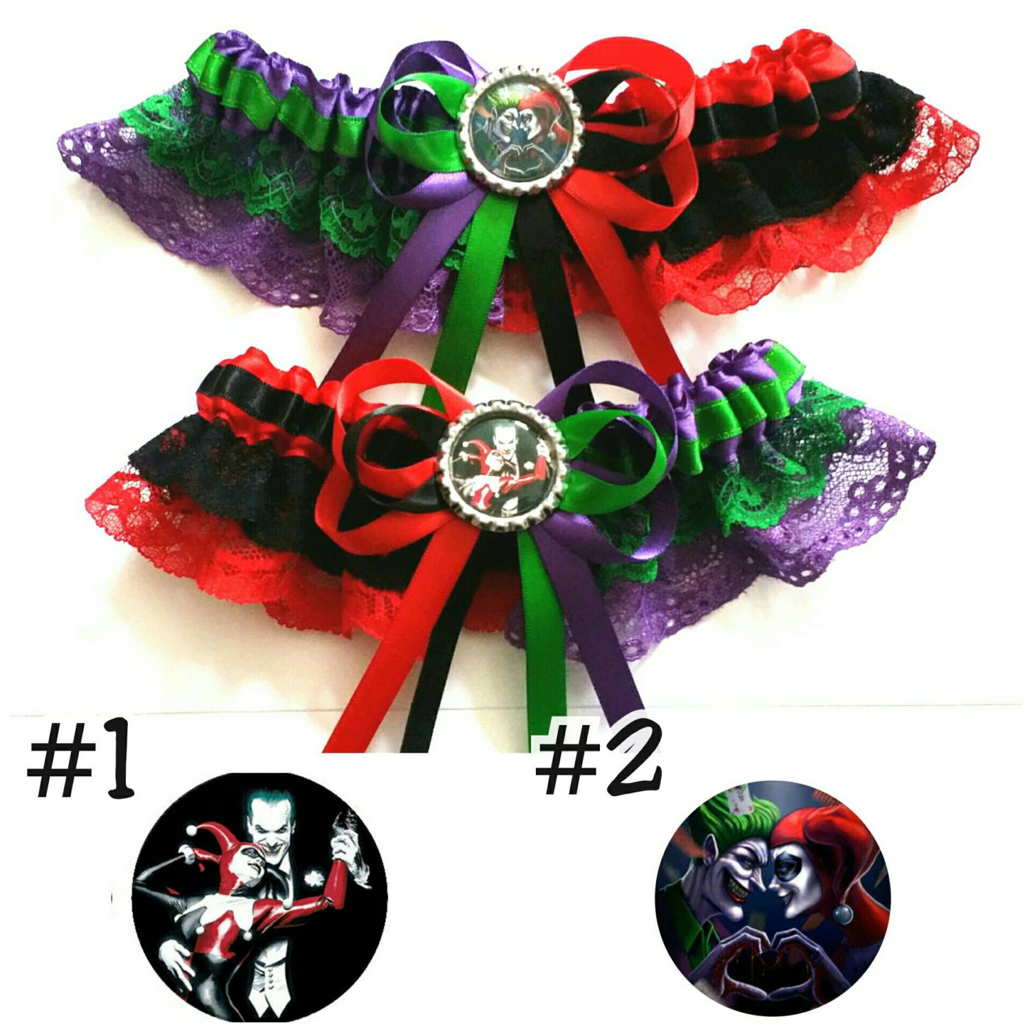 harley quinn wedding harley quinn wedding ring Harley Quinn and The Joker half n half Satin Satin and Lace Garter Garter Set Your choice of embellishment