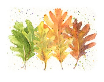 Fall Leaves, Watercolor Fall Leaves, Fall Leaves Print, Leaves Print, Fall Print, Orange