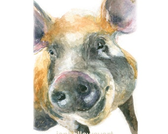 Watercolor Piggy, Piggy Print, Pig Art, Pig Print, Farm Animal Print
