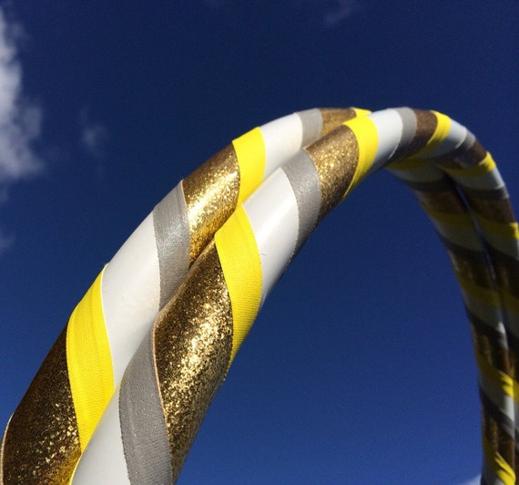 White Gold Dance & Exercise Hula Hoop COLLAPSIBLE or Push Button - yellow glitter grey gray