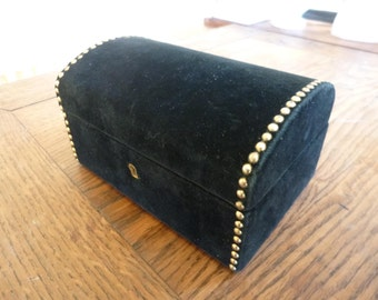 Vintage Brass studded Black Velvet Jewelry and Ring Box with red Velvet Lining French