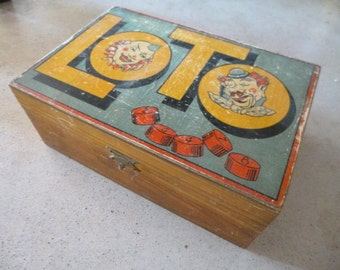 Vintage Wood Number Tokens French Loto Game Pieces 80+ Pieces Original Box