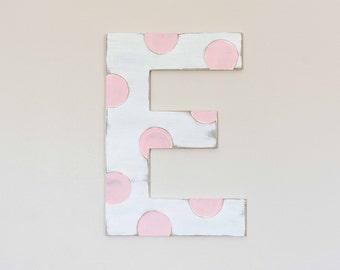 Wooden Nursery Letters, Polka Dot, Cute Nursery Decor, Large Wood Letter, Painted