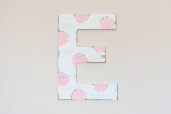 Wooden Nursery Letters, Polka Dot, Cute Nursery Decor, Large Wood Letter, Painted
