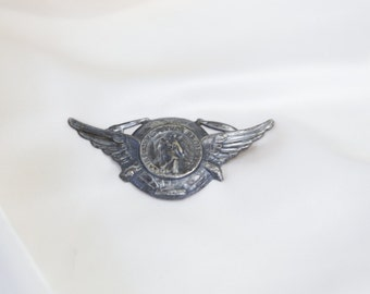 WII Wing Brooch. Vintage War Medal. Saint Christoper. // AVIATOR Sterling Silver. // Christian. Catholic. Military. US Veteran. High Relief.