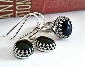 Black Onyx Jewelry Set Sterling Silver Black Onyx Earrings Black Onyx Necklace Minimal Jewelry Gemstone Jewelry Victorian Gothic Jewelry