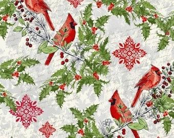 Cardinals in Multi - Seasons Greetings - Whistler Studios - Windham Fabrics - 1 Yard