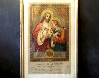1914 Antique French religious frame .reliquary .First Communion Souvenir .Religious art .