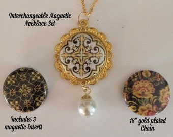 Interchangeable Magnetic Necklace, Bracelet or Pin Set