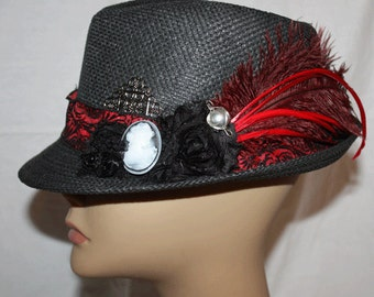 Black Straw Vintage Style Fedora with Cameo and Ostrich Feather