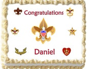 Eagle Scout Boy Scouts Edible icing sheet custom cake  transfer decal  decorations frosting top Court of Honor 4