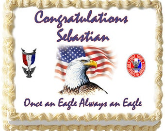 Eagle Scout Boy Scouts Edible icing sheet custom cake  transfer decal  decorations frosting top Court of Honor