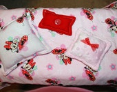 Doll Bedding - American Doll (18 inch Doll) - 4 Piece Bed Set - Minnie Mouse Reversible