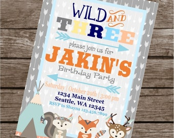 WILD AND THREE Happy Birthday Party or Baby Shower Invitations Set of 12 {1 Dozen}