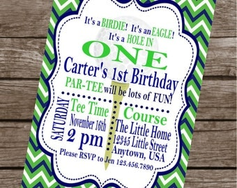 PREPPY GOLF Happy Birthday Party or Baby Shower Invitations Set of 12 {1 Dozen} - Party Packs Available
