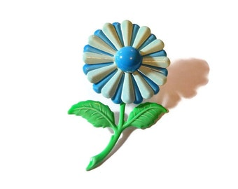 Blue daisy brooch pin, large mod 1960s powder blue and deep sky blue enamel flower floral with darker blue center and green stem and leaves