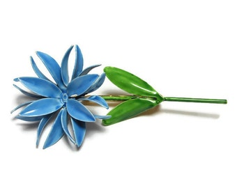 Sandor Co. brooch, large, long 1960s enameled blue flower, floral brooch with green stem and leaves, daisy like