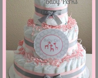 SALE Pink and Grey Baby Shower  . Baby Shower Diaper Cake, Pink and Chevron Diaper cake , baby Shower decorations, safari diaper cake