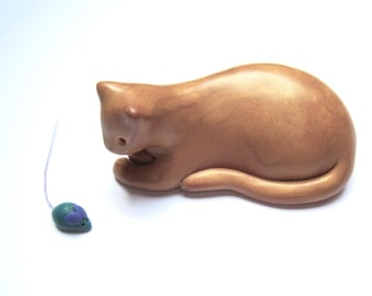 Fat Cat Herman - metallic gold cat and tiny toy mouse handmade OOAK figurine polymer clay laid back cool cat