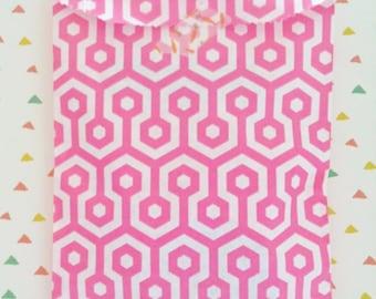 Set of 20 Paper Bags, honeycomb pink