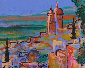 Original painting of view of Mexican town San Miguel de Allende small town wall decor original art acrylic on canvas 26 x 35.5