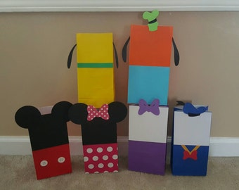 Mickey mouse clubhouse favor bags, choose quantity, Minnie, Donald, Pluto, Goofy, Daisy