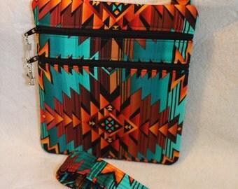 Handcrafted Crossbody bag Southwestern Native American Fabric themed w/Adj strap