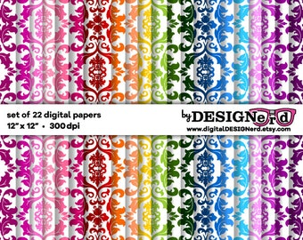 Digital Scrapbook Paper - Rainbow Damask Collection (no. 3)